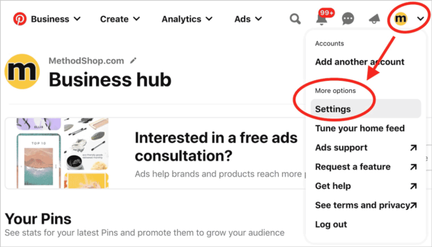 How To Get A Pinterest Verification Code And Add It To Your Website - Pinterest Settings 1