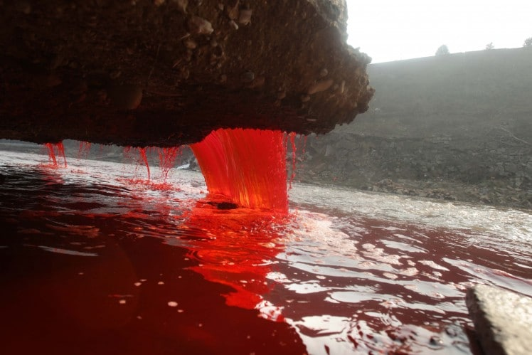 Pollution-Red-Waterfall