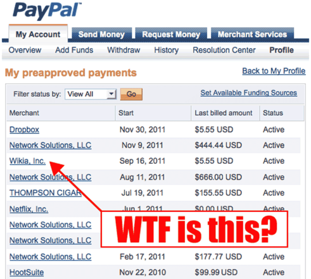 PayPal - My Preapproved Payments