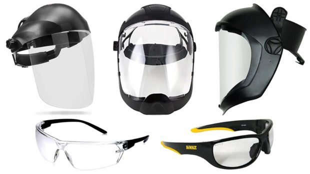 Helmets with polycarbonate face shields