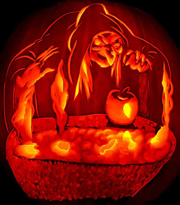 Pumpkin Carving Of The Witch From Sleeping Beauty
