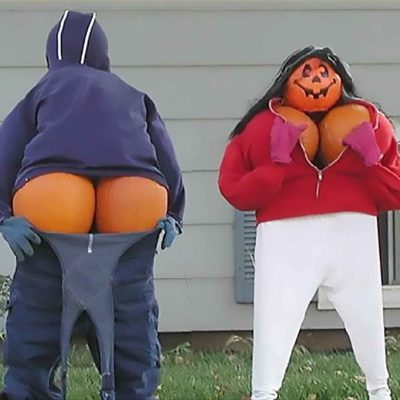 Pumpkin Moon And Cleavage - Funny Front Yard Pumpkin Decoration
