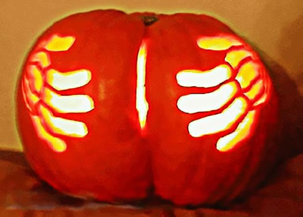 "Caught ""Orange Handed"" - Funny Pumpkin Carving Idea"