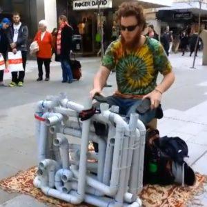 Street Musician Plays Analog Techno Music Using PVC Pipes