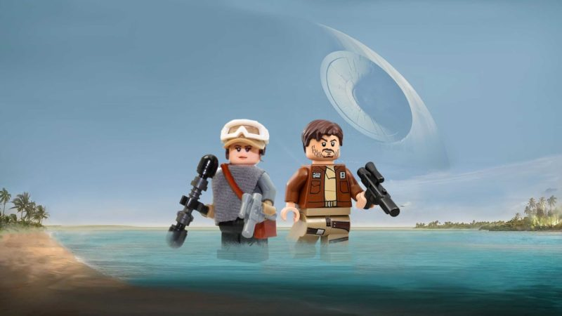 Star Wars LEGO mini figures of Jyn Erso (Felicity Jones) and Cassian Andor (Diego Luna) from Star Wars: Rogue One.