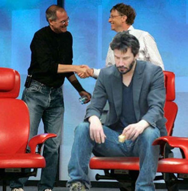 Sad Keanu Reeves With Bill Gates And Steve Jobs