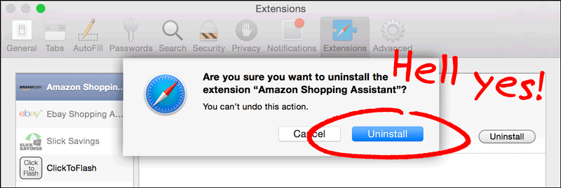 Uninstall Adware Safari Extentions