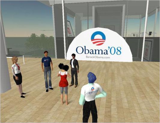 Barack Obama campaign HQ on SecondLife