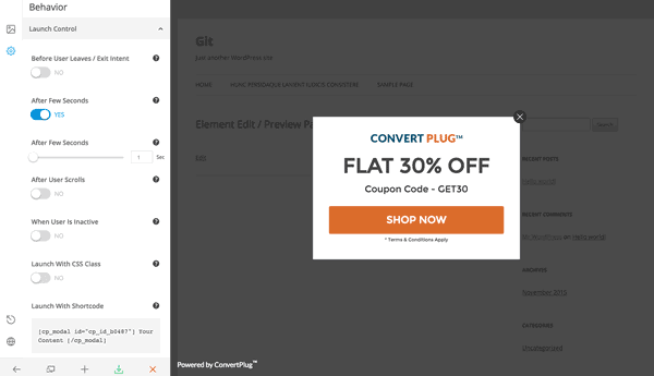 Example of a Convert Plus exit popup window