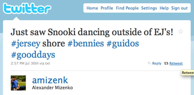 """Just saw Snooki dancing outside of EJ's!"" @amizenk, Alexander Mizenko"