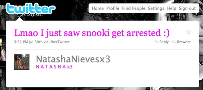 """Lmao I just saw snooki get arrested :)"" @NatashaNievesx3"