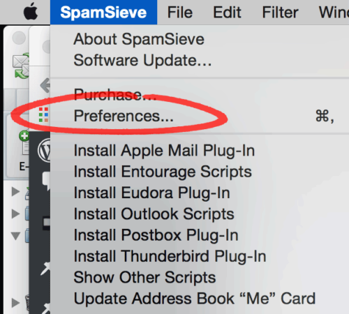 Open SpamSieve's Preferences