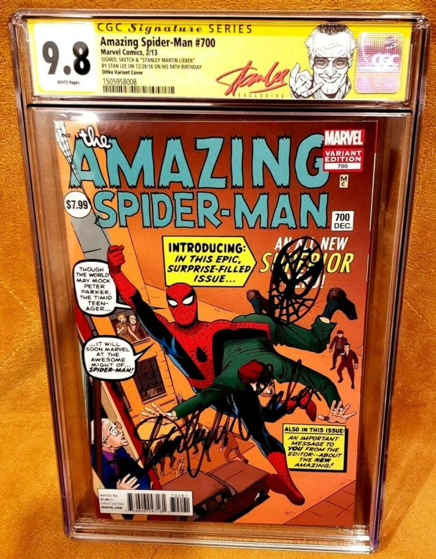 Amazing Spider-Man #700 Signed By Stan Lee On His 94th Birthday ($100,000): Stan Lee was an active participant in comic book conventions up until his mid-90s. He finally retired from conventions in 2017. He died the following year in 2018 at the age of 95. This comic book was signed at one of his last conventions and on his 94th birthday making is even more rare.