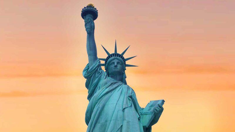 The Statue Of Liberty - Beautiful Orange Sunset