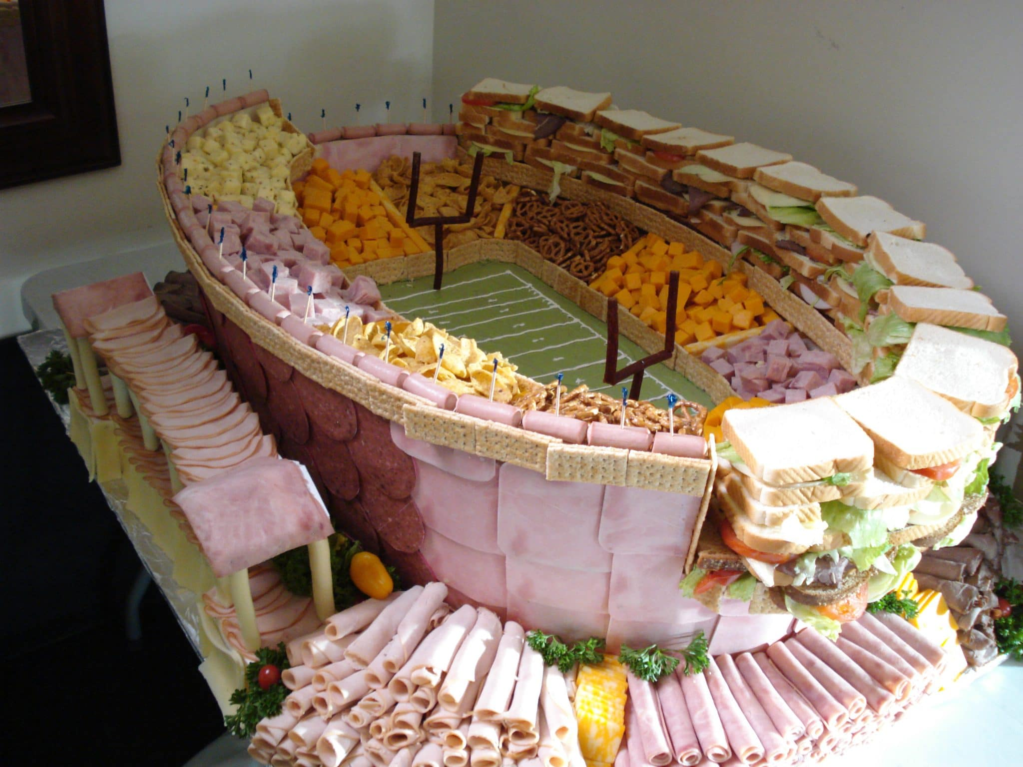 The Ultimate Super Bowl Party Platter Idea Sandwich Stadium
