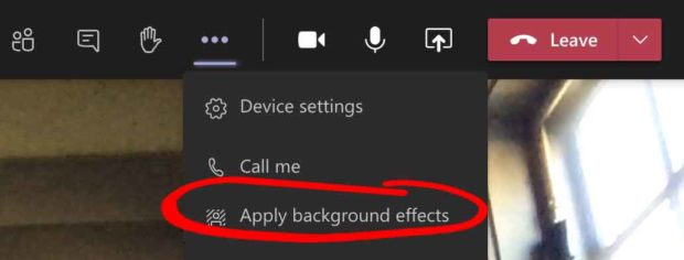 Microsoft Teams Background Effects - Apply Background Effects