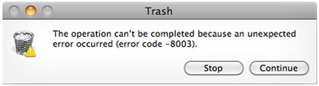 Mac OS X Trash Error