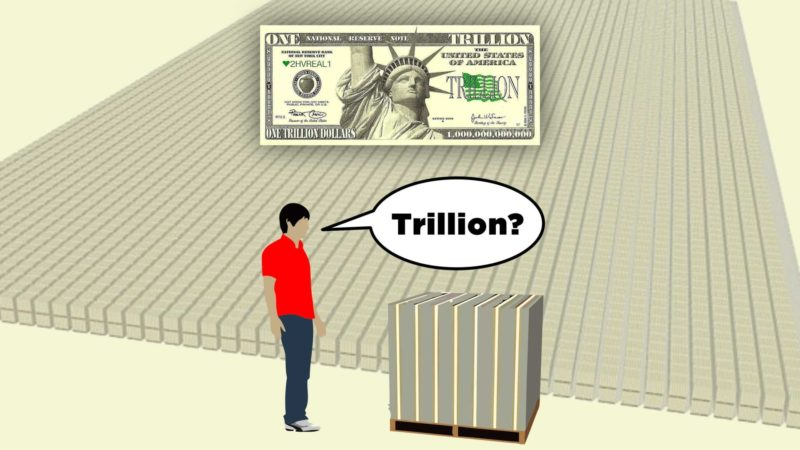 The United States is several TRILLION dollars in debt! But exactly what does a trillion dollars look like?