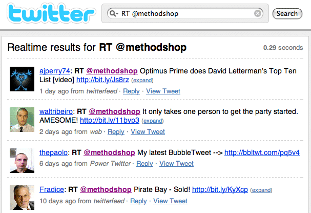 Twitter Search Of @methodshop Retweets