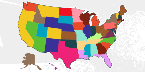 USA Map States - Car Accident Laws