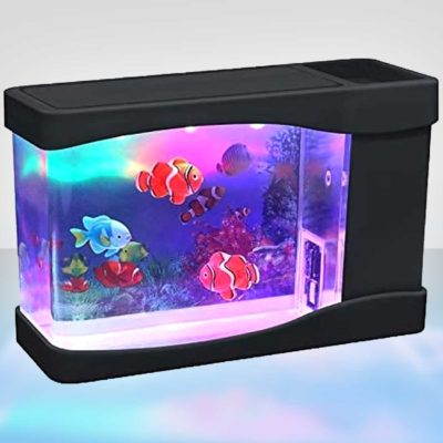 Mini USB Aquarium Desk Toy With Artificial Fish
