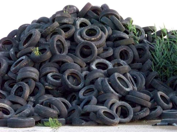 Pile Of Used Tires Ready For Tire Recycling