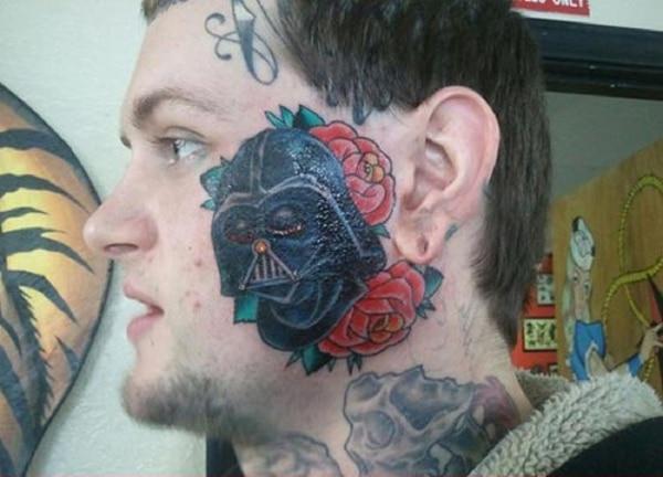 Terrible Darth Vader Face Tattoo