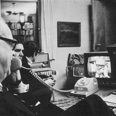 Tage Erlander Videoconferencing with Lennart Hyland