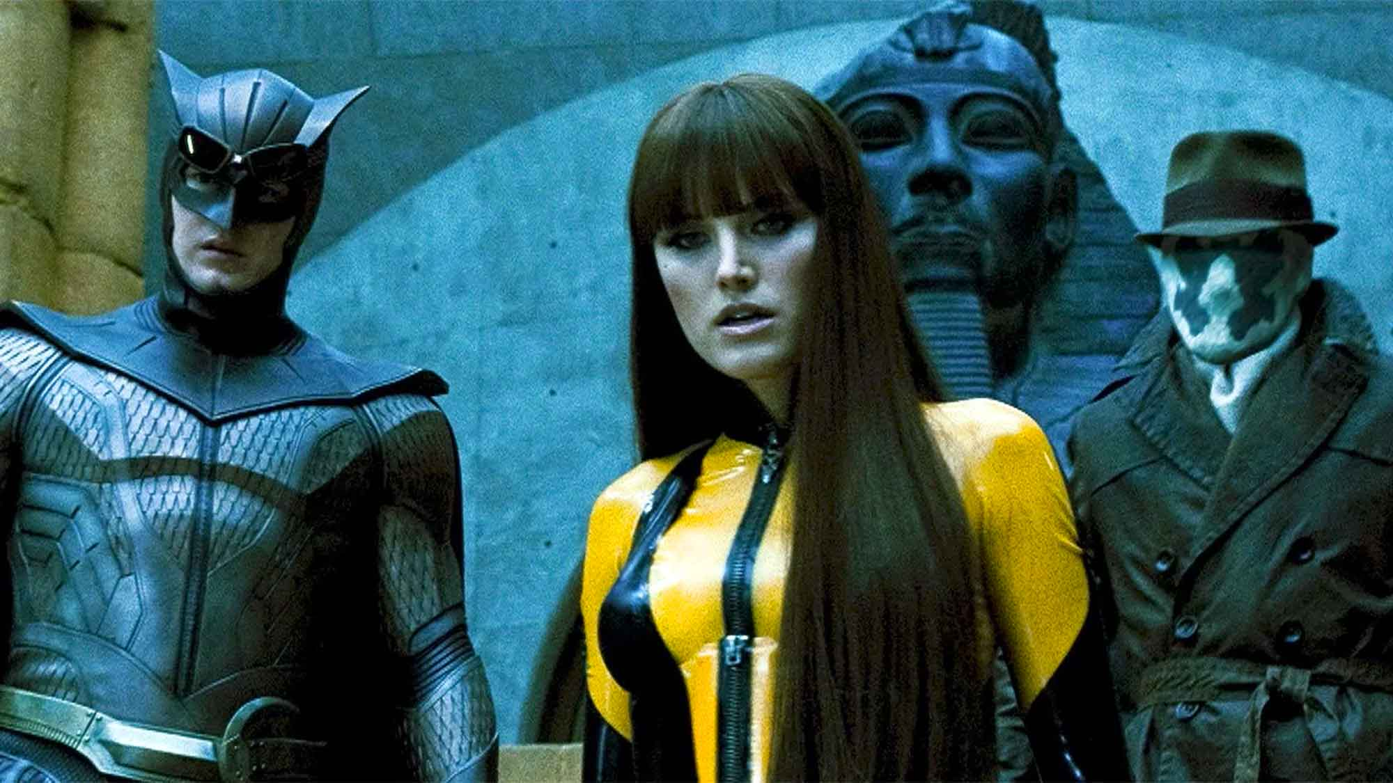 Watchmen Cast: Nite Owl, Silk Spectre II, and Rorschach