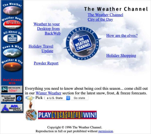 Screenshot Of Weather.com From 1996