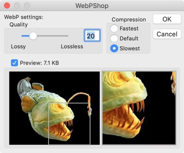 Save As WebP Options - WebP Files To JPG
