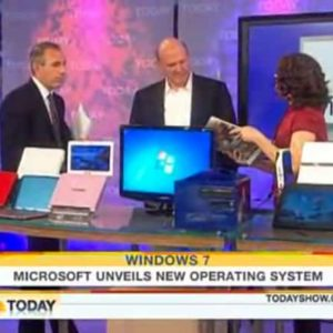 It works! Steve Ballmer Gives A Windows 7 Demo On The TODAY Show.