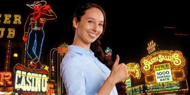 Happy Woman At Downtown Las Vegas Casinos