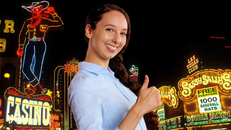 Happy Woman at Downtown Las Vegas Casinos