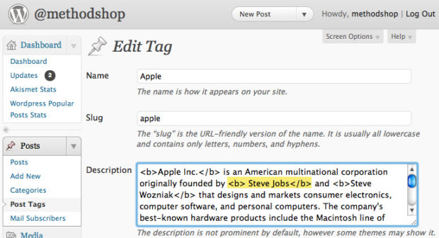 Coding HTML tag descriptions to your WordPress tags pages.