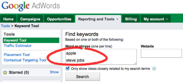 "A sample search for ""apple"" and ""steve jobs"" using Google's Keyword Tool."
