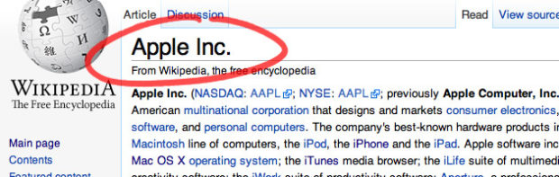 Wikipedia Page For Apple Inc.