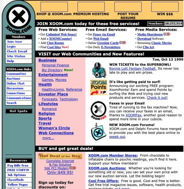 Xoom Home Page 1999