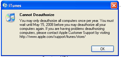 iTunes Deauthorize Computers Once Per Year