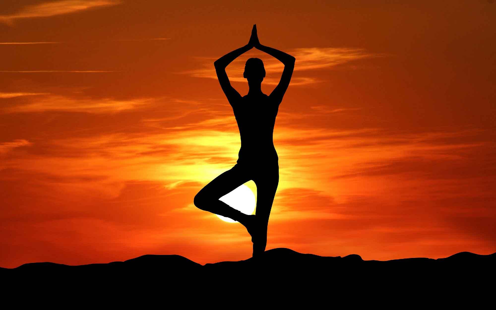 Yoga Meditation At Sunset