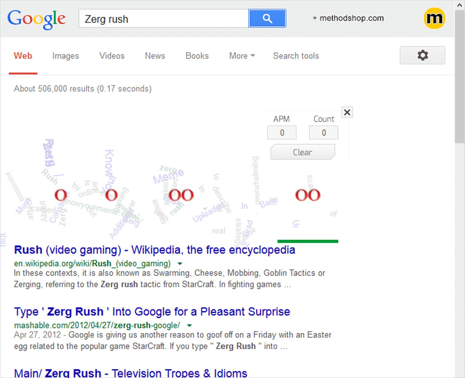 Zeg Rush - Google Easte Egg